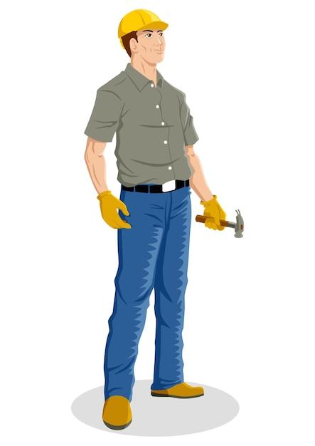 Ilustracao Dos Desenhos Animados De Um Trabalhador Da Construcao Civil Vetor Premium