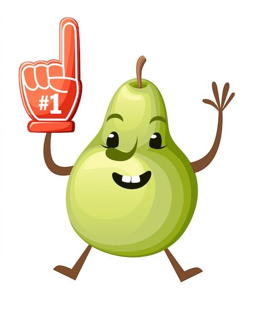 Ilustração dos desenhos animados de uma pêra. mascote de pêra fofo. pulando frutas com mão de espuma número 1. ilustração em fundo branco. página do site e aplicativo móvel Vetor Premium