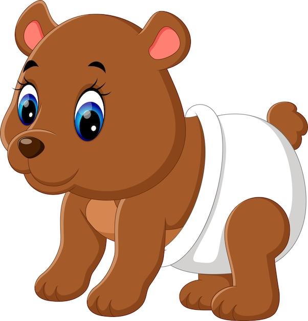 Ilustracao Dos Desenhos Animados De Urso Bebe Fofo Vetor Premium