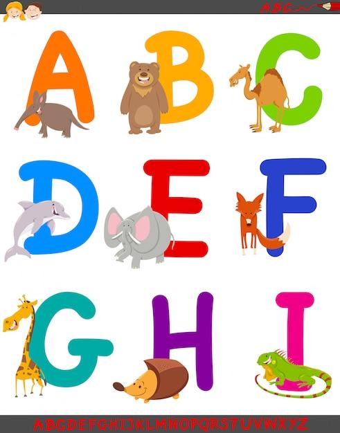 Ilustração dos desenhos animados do alfabeto definido com animais Vetor Premium