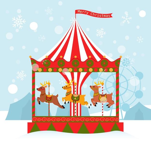 Ilustração dos desenhos animados do carrossel de renas do cartão de natal Vetor Premium