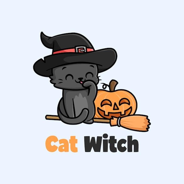 Ilustração dos desenhos animados do chapéu de bruxa usando pequeno gato negro Vetor Premium