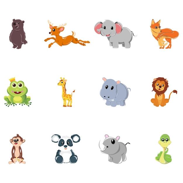 Ilustração dos desenhos animados do conjunto de animais. Vetor Premium