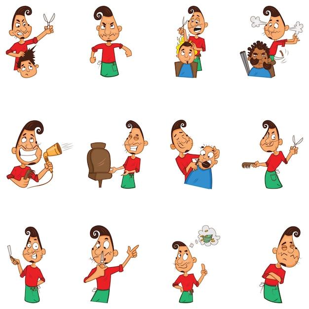 Ilustração dos desenhos animados do conjunto de barbeiro Vetor Premium