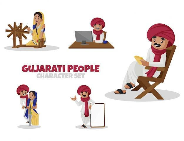 Ilustração dos desenhos animados do conjunto de caracteres do povo gujarati Vetor Premium