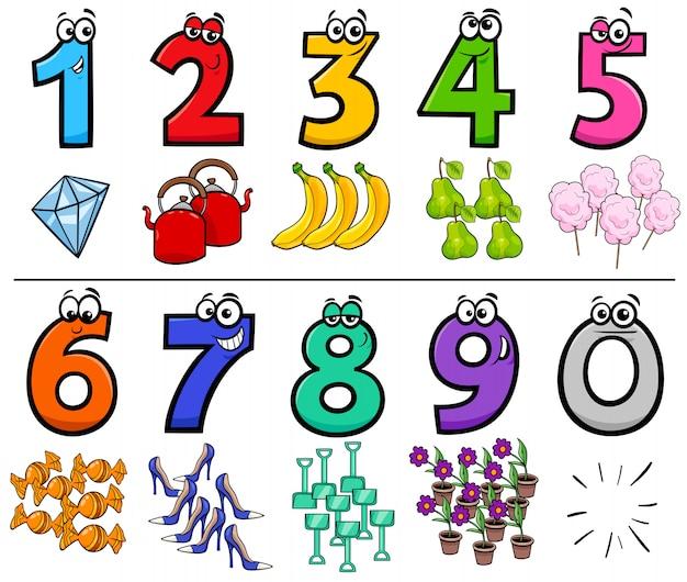 Ilustração dos desenhos animados do conjunto de números de educação Vetor Premium