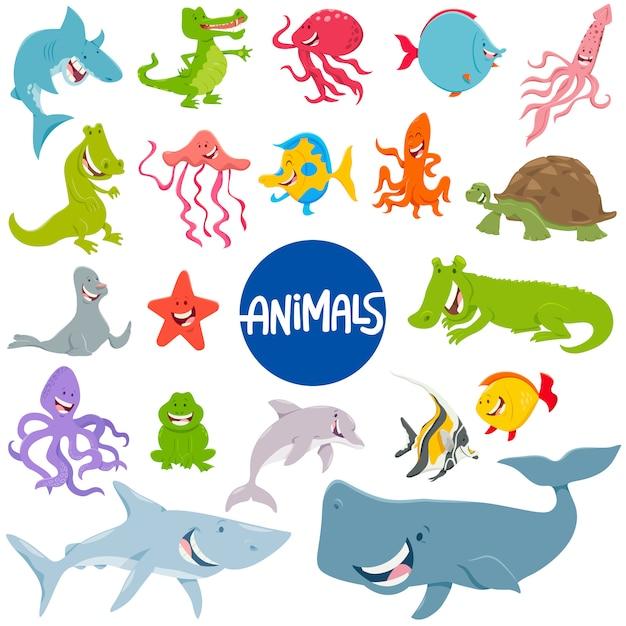 Ilustração dos desenhos animados do conjunto de personagens de animais marinhos Vetor Premium