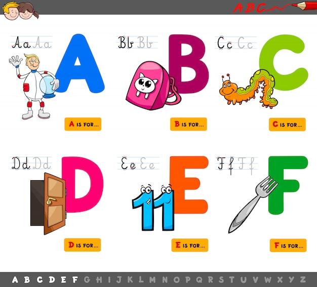 Ilustração dos desenhos animados do conjunto educacional de letras maiúsculas Vetor Premium