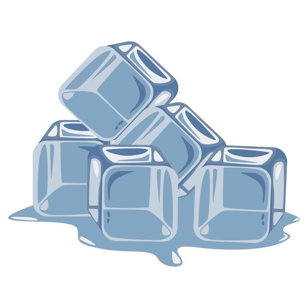 Ilustração dos desenhos animados do cubo de gelo em um fundo branco. Vetor Premium