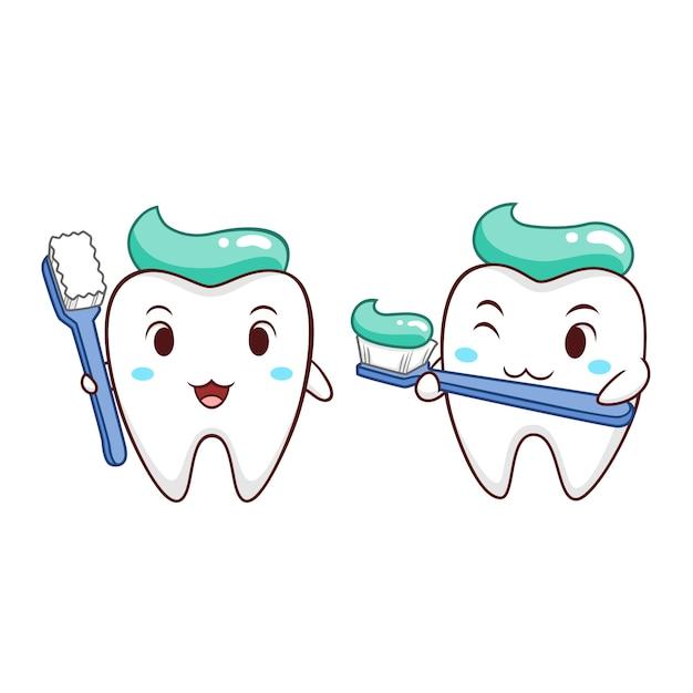 Ilustracao Dos Desenhos Animados Do Dente Que Guarda A Escova De