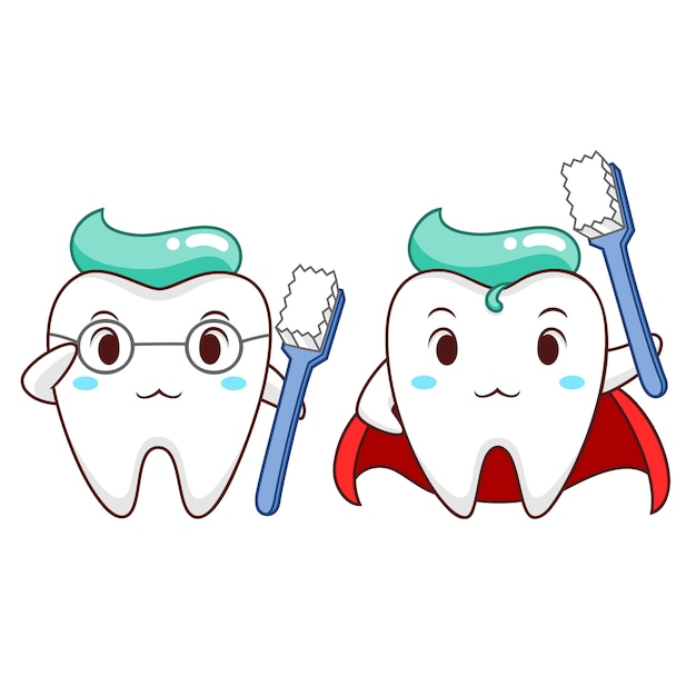 Ilustração dos desenhos animados do dente saudável do super-herói. Vetor Premium