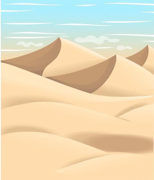 Ilustração dos desenhos animados do deserto. projeto de espaço de terreno plano. ilustração com areia e céu. Vetor Premium