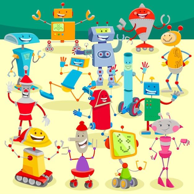 Ilustração dos desenhos animados do grande grupo de robôs Vetor Premium