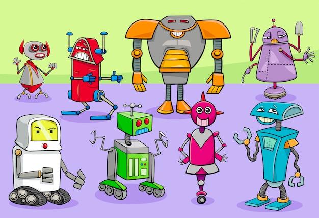 Ilustração dos desenhos animados do grupo de personagens de robôs Vetor Premium