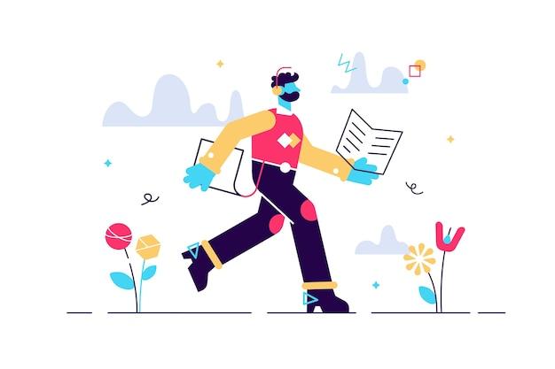 Ilustração dos desenhos animados do homem executado com um livro nas mãos. conceito de educação. estudante de jovem com fones de ouvido. estudo de leitura e escuta. autoeducação. tarde, assimile as informações rapidamente. Vetor Premium