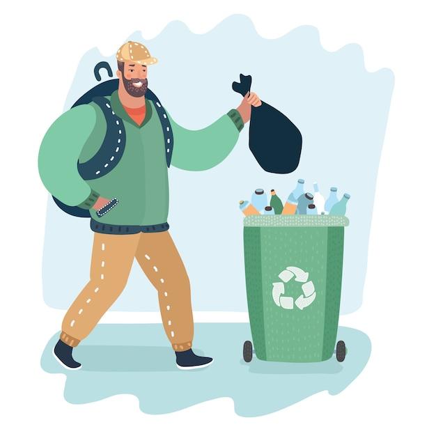Ilustração dos desenhos animados do homem jogando lixo vai verde garbige can Vetor Premium