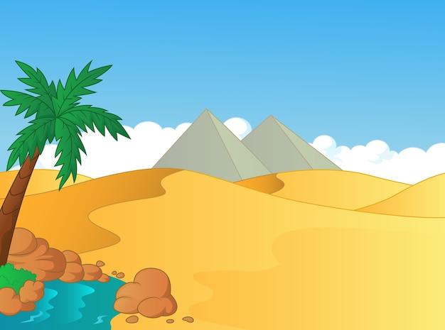 Ilustração dos desenhos animados do pequeno oásis no deserto Vetor Premium