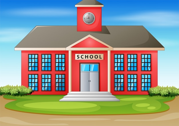 Ilustração dos desenhos animados do prédio da escola Vetor Premium