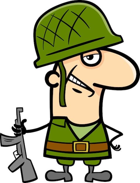 ilustração dos desenhos animados do soldado baixar vetores premium