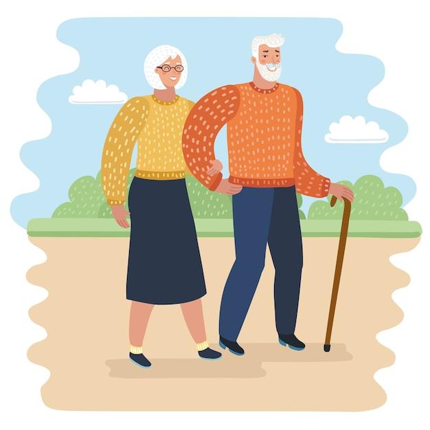 Ilustração dos desenhos animados do vovô com bengala e mulher idosa no parque da cidade. Vetor Premium