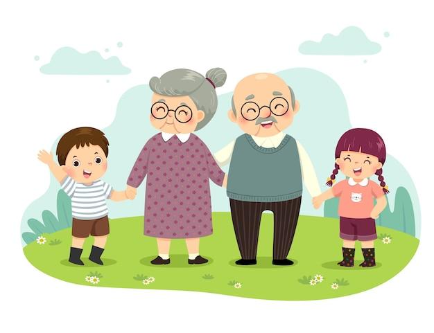 Ilustração dos desenhos animados dos avós e netos em pé de mãos dadas no parque. conceito de dia de avós feliz. Vetor Premium