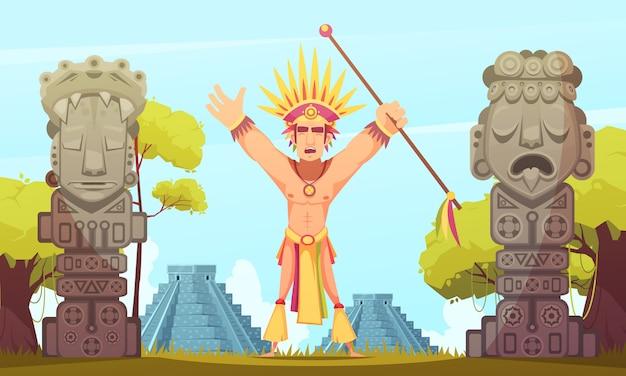 Ilustração dos desenhos animados maias Vetor grátis