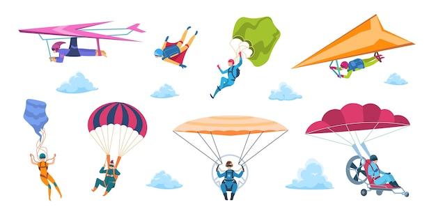 Ilustração dos desenhos animados para paraquedistas Vetor Premium