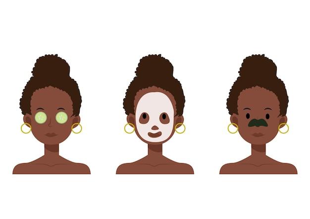 Ilustração dos desenhos animados plana de mulher afro-americana com máscara facial, tapa-olhos, tapa-olho de pepino para a pele. Vetor Premium