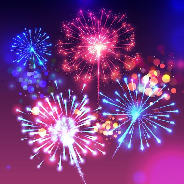 Ilustração dos fogos-de-artifício de luzes do birght e do efeito cintilantes do bokeh. Vetor grátis