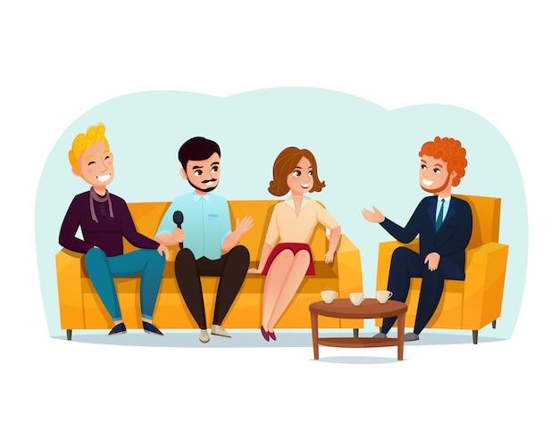 Ilustração dos participantes do programa de entrevistas Vetor grátis