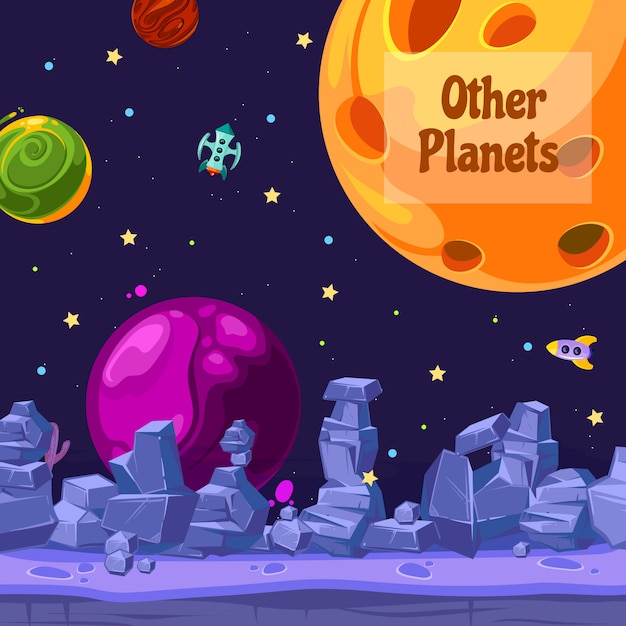 Ilustração dos planetas e dos navios do espaço dos desenhos animados do fundo Vetor Premium