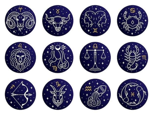 Ilustração dos signos astrológicos do zodíaco Vetor Premium