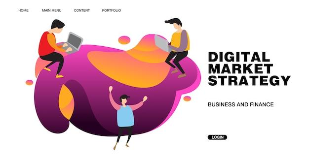 Ilustração e design de banner de estratégia de marketing digital Vetor Premium
