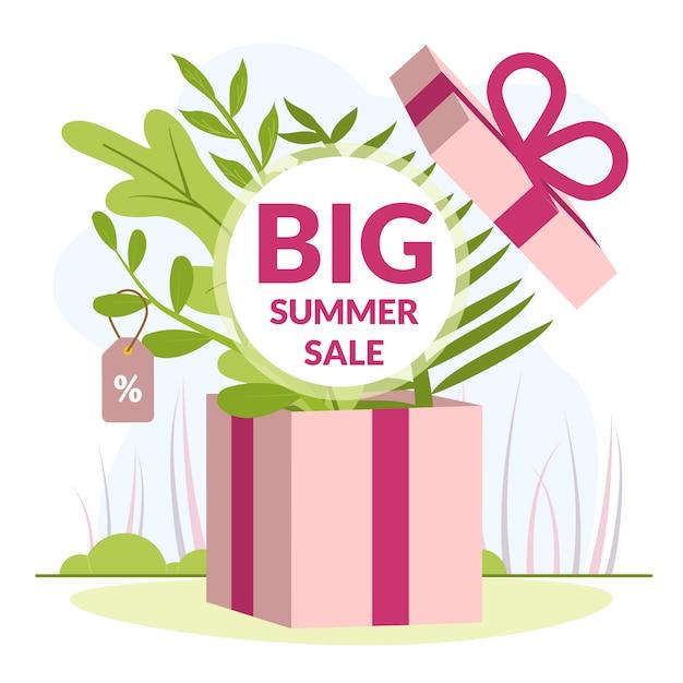 Ilustração é escrita grande venda de verão Vetor Premium