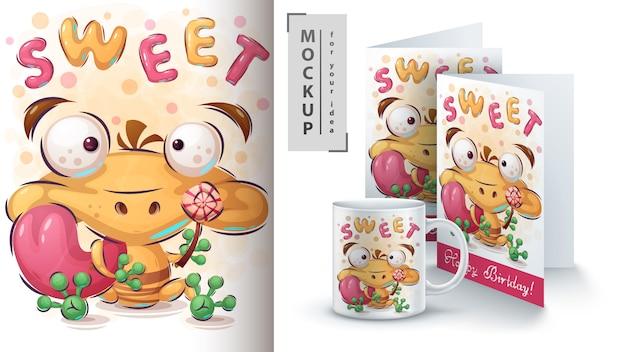 Ilustração e merchandising de sapo doce Vetor Premium