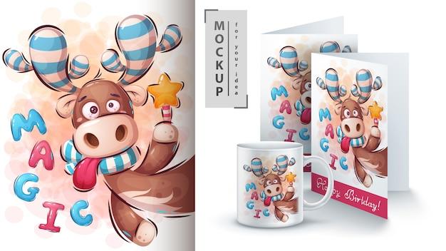 Ilustração e merchandising de veado mágico Vetor Premium