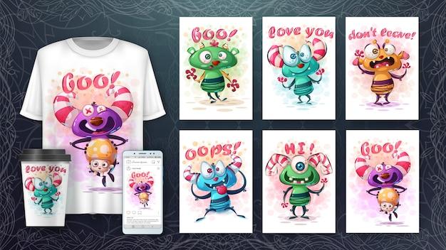 Ilustração e monstros fofos merchandising Vetor Premium