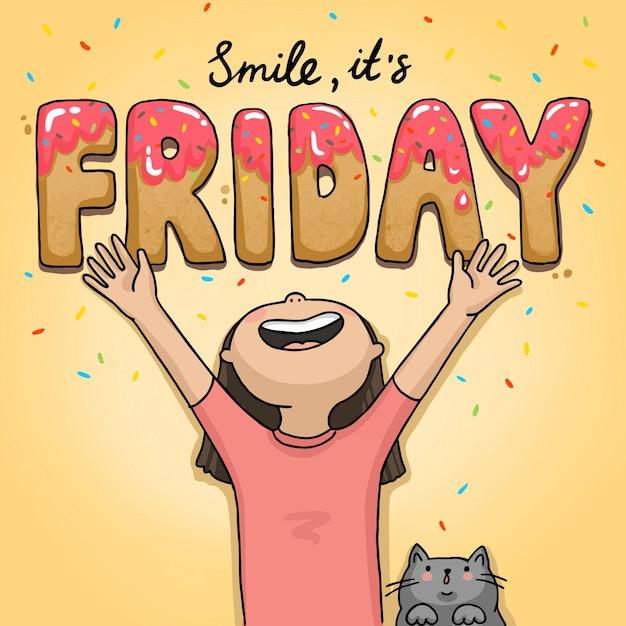 Ilustração é sexta-feira garota engraçada com um gato Vetor Premium