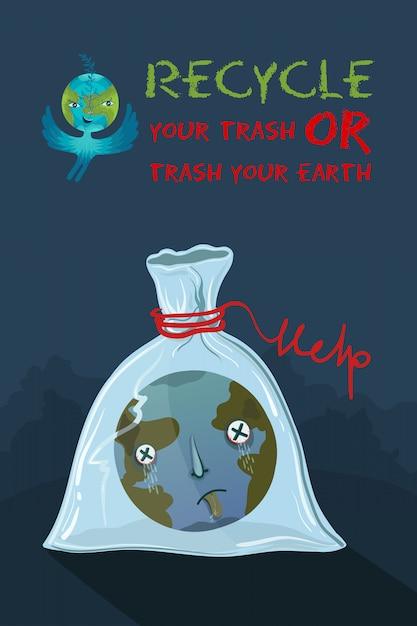 Ilustração ecológica do planeta terra que sufocou em um saco plástico. Vetor Premium