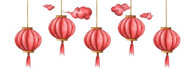 Ilustração em aquarela das lanternas chinesas. luzes vermelhas chinesas. Vetor Premium