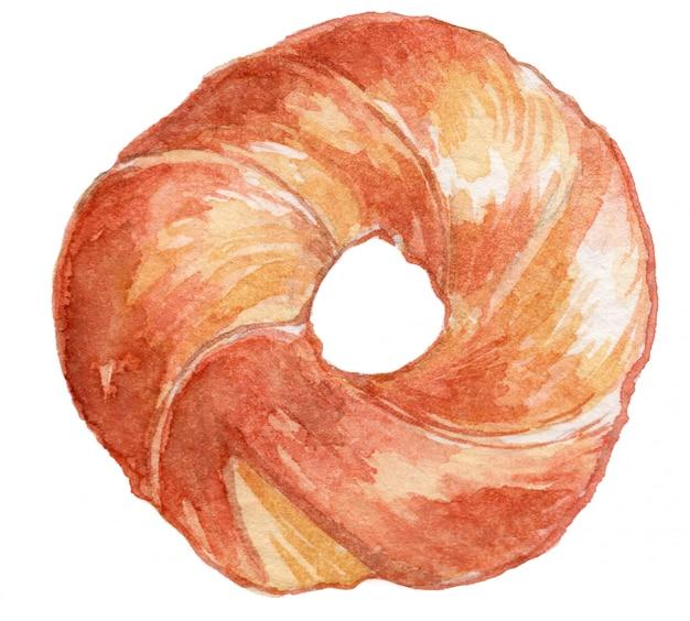 Ilustração em aquarela de bagel Vetor Premium