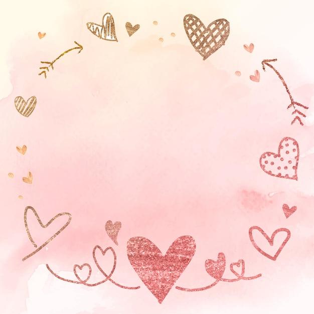 Ilustração em aquarela de coração com moldura de seta Vetor grátis