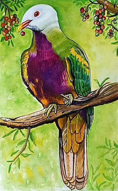 Ilustração em aquarela de lindo pássaro desenhada à mão Vetor Premium
