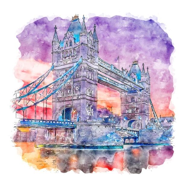 Ilustração em aquarela de londres reino unido. Vetor Premium