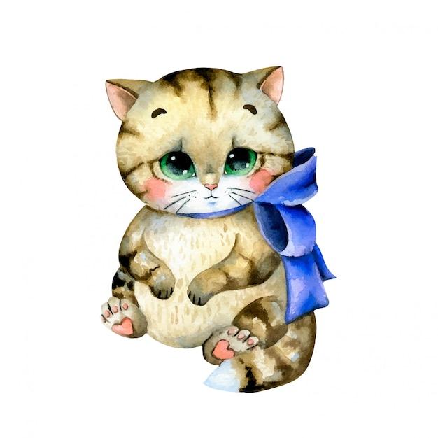 Ilustração em aquarela de um gatinho malhado gordo bonito dos desenhos animados com um laço azul isolado Vetor Premium