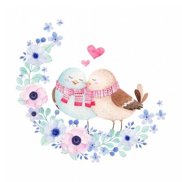 Ilustração em aquarela pássaros bonitos no amor com guirlanda floral Vetor Premium