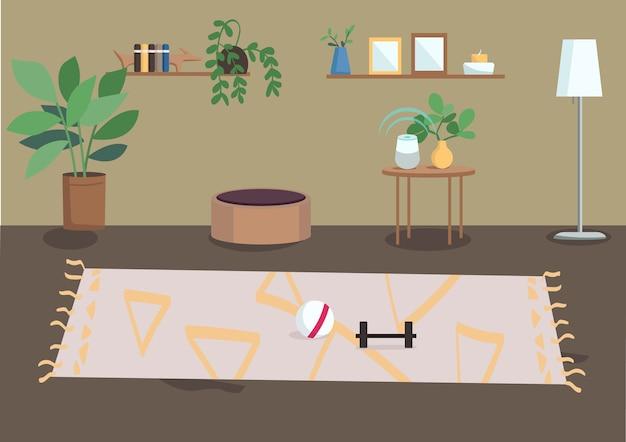 Ilustração em cores planas da sala de estar casa residencial mobiliada casa espaçosa planta de casa em vasos e molduras para fotos nas prateleiras interior dos desenhos animados do apartamento d com decoração no fundo Vetor Premium