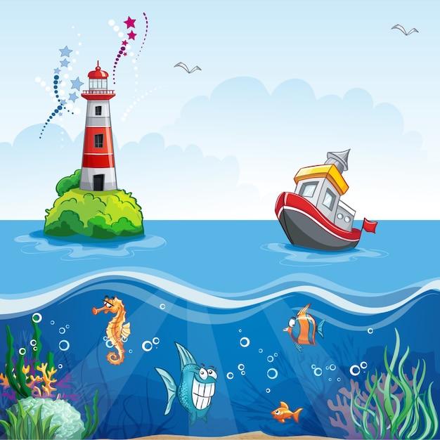 Ilustração em estilo cartoon de um navio no mar e peixes divertidos Vetor Premium