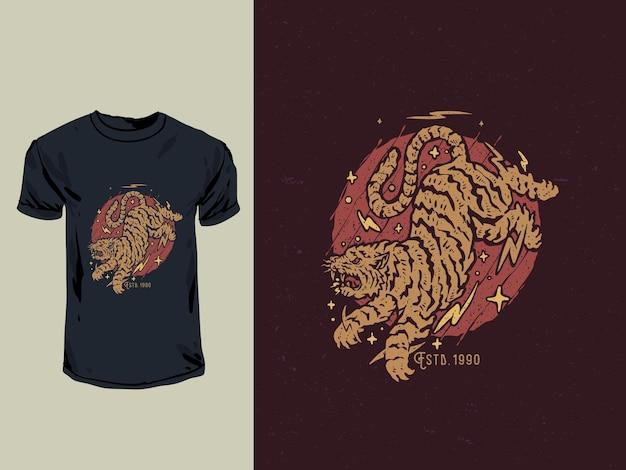 Ilustração em estilo japonês de tatuagem e carimbo antigo tigre irritado Vetor Premium