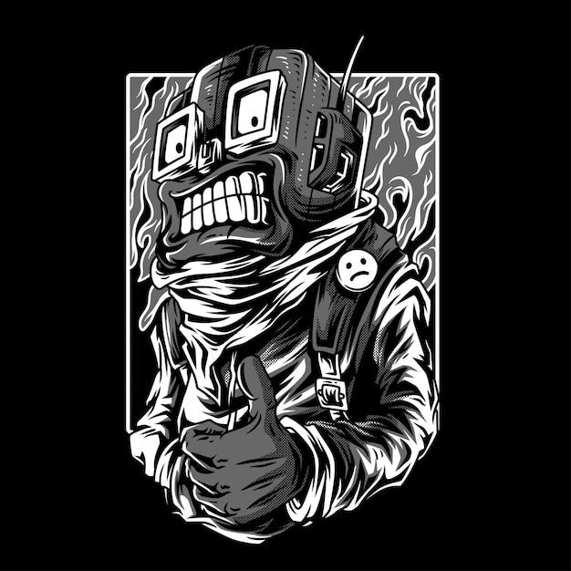 Ilustração em preto e branco bloqueada Vetor Premium